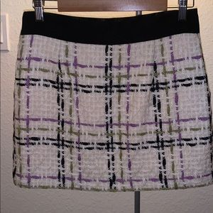 Milly woven plaid print skirt with ribbon band